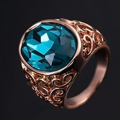 Glucky  Fashion Jewelry Vintage Retro Style Rose Gold Big Blue Crystal Men Sapphire Ring >>> Want to know more, click on the image.