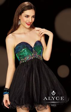 Look sensational and romantic in Alyce Homecoming 4394. This empire cocktail dress is made of tulle. The strapless bodice features a sweetheart neckline and a lace up back to ensure a perfect fit. Sequins and beads adorn the bodice while the flared skirt creates a fabulous look.