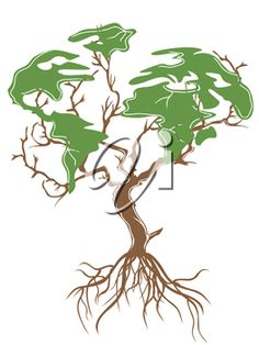 iCLIPART - Clipart Illustration of a Tree in the Shape of the Earth