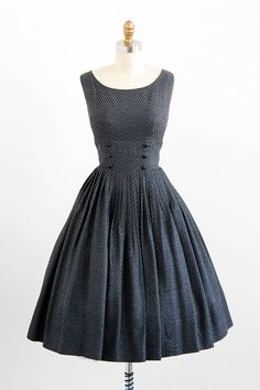 vintage 1950s dress / 50s dress / Black and Gray by RococoVintage, $168.00