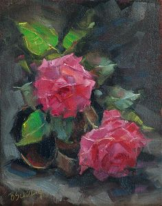 Roses-on-an-Old-Tin-Cup by Barbara Schilling Oil ~ 11 x 8.5