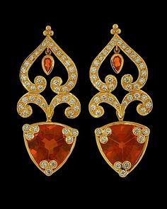 bing images of coral gems   Brazilian fire opal earrings