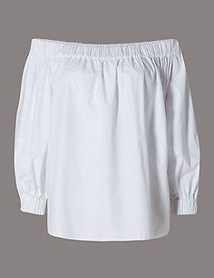 Pure Cotton Cold Shoulder Loose Fit Top | M&S