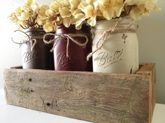 Painted Mason Jar and Reclaimed Barn Wood Flower Box - Quart on Etsy, $48.28 CAD