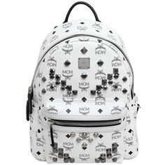 MCM Small Stark Coated Canvas Backpack (1,240 CAD) ❤ liked on Polyvore featuring bags, backpacks, white, white backpack, rucksack bag, laptop backpacks, mcm bags and white bags