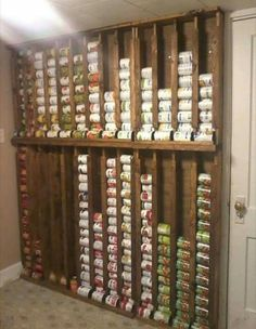 Canned food storage made from old pallets.