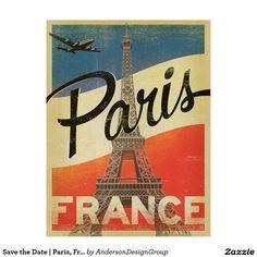 Salvar a data   Paris, France - bandeira Cartão Postal