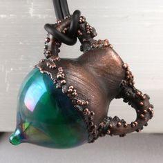 Handmade Copper Electroformed Lampwork Vessel by SilverReflection