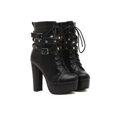 New Hot Women's Punk Style Rivet Zipper High Heel Pumps Ankle Strap Boots Heels Black Platform Boots, Platform High Heels, High Heel Pumps, Pumps Heels, Black Boots, Lace Up High Heels, Black High Heels, Womens High Heels, Heeled Boots