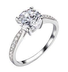 2.25Ct 14k White Gold Enhanced Diamond(VS) Elegance Engagement Rings for Women Wedding Anniversary (D Color VVS1 Clarity)  All Sizes Available Size  7