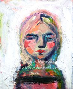 Original Artwork Neon Pink Mixed Media Girl Woman by sarahdonnell, $200.00