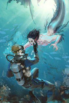 merman Bucky and diver Steve Fantasy Kunst, Fantasy Art, Character Inspiration, Character Art, Mermaid Man, Mermaid Drawings, Mermaids And Mermen, Wow Art, Merman