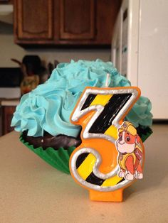 3 inch tall Paw Patrol Rubble birthday candle by SweetPeaCandles, $9.50