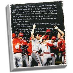 Steiner Lou Piniella Facsimile 'Reds World Series' Stretched 22x26 Story Canvas (22x26x1)