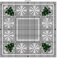Christmas trees and snowflakes Biscornu Cross Stitch, Cross Stitch Tree, Cross Stitch Charts, Cross Stitch Designs, Cross Stitch Embroidery, Embroidery Patterns, Cross Stitch Patterns, Christmas Embroidery, Plastic Canvas Patterns