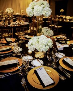 Get inspired 54 enchanting wedding centerpiece ideas to see more - Black and gold wedding reception decorations ...