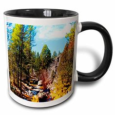 Jos Fauxtographee Miniature - View of River in Pine Valley, Utah Flowing Through Trees and of Green and Yellow on Blue Sky - 11oz Two-Tone Black Mug (mug_49656_4) 3dRose http://www.amazon.com/dp/B01352O7QW/ref=cm_sw_r_pi_dp_nKaZvb0H55ZAZ