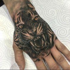 Lion Hand Tattoo Men, Tiger Hand Tattoo, Full Hand Tattoo, Lion Head Tattoos, Tiger Tattoo Design, Hand Tattoos For Guys, Weird Tattoos, Dope Tattoos, Male Hand Tattoos