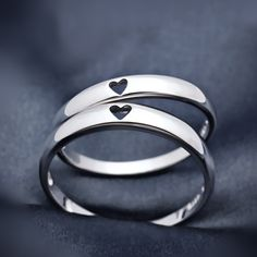 Wedding rings?【Jewelry in My Box】Simple Style Heart to Heart 925 Silver Couples Matching…