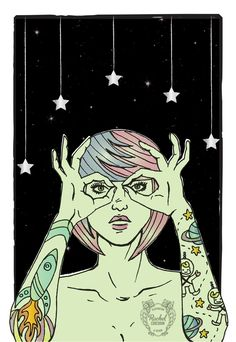 OUTER SPACE Alien Digital Poster - Cosmic - Astrological Illustration - Retro- Tattoos - Green - Stars. €20.00, via Etsy.