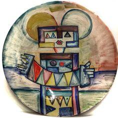 IBRAIM KODRA (1918-2006)FISARMONICISTA DIPINTO A MANO SU PIATTO IN CERAMICA 52cm ☲☲☲☲☲☲☲☲☲☲☲☲☲☲☲☲☲☲☲☲ ACCORDION ON CERAMIC PLATE