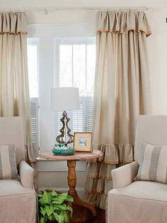 Ruffled curtains for girl's room.
