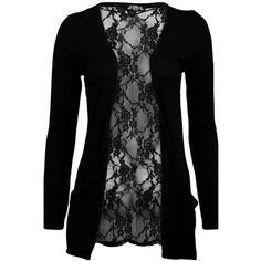 Womens Long Sleeve Floral Lace Back Double Pockets Cardigan Black ($15) ❤ liked on Polyvore featuring tops, cardigans, black, floral tops, flower print top, floral print tops, long sleeve tops and floral cardigans