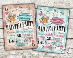 Alice in Wonderland Baby Shower Invitation - Boy or Girl - Printable Invite - Tea Party - White Rabbit - Queen of Hearts - Mad Hatter