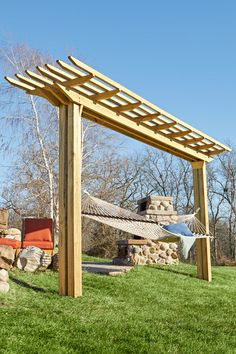 Double-feature Pergola woodworking plan. By day, an easy-swinging hammock holder. By night, a neighborhood theatre screen.