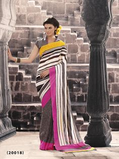 Grey & Off White Stripe Printed Designer Bhagalpuri Saree With Grey Color Blouse Off White Color, Gray Color, Silk Sarees Online Shopping, Online Sales, Stripe Print, Designer Sarees, Chiffon, Sari, Sale Sale
