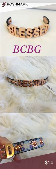 ✨NEW BCBG BLESSED BRACELET✨ New with tags BGBC Blessed bracelet. Band is blues,purples, and yellows. Letters are rose gold. Two snaps for size of wrist. BCBG Jewelry Bracelets