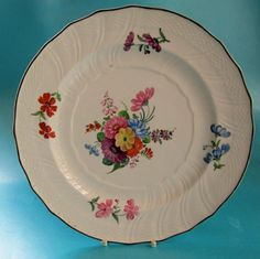 antique decorative hand painted floral plate - Decorative Christmas Display Plates