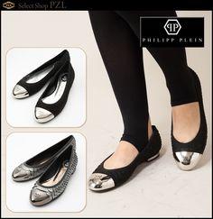"""""""PHILIPP PLEIN"""" Ballerina Shoes   Ballerinas in snake-leather optic 、 Varnish-head with skull"""