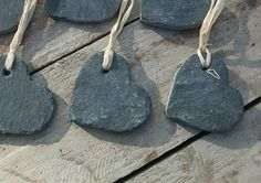 25 handmade old heavy welsh slate hearts labels tags memory wedding favour