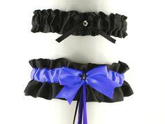 SALE satin garter set blue black garter gothic by FashionForWomen