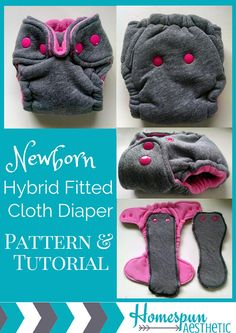 This PDF includes a 20 page detailed tutorial for sewing your own newborn hybrid fitted cloth diapers for babies up to approximately 12 pounds. This diaper features a snap closure with umbilical cord snap down. I've covered everything from which fabric options are out there (including my favorite options and where I buy my fabrics) as well as photo instructions for adding your snaps (even what to do when you mess them up!). Newborn Hybrid Fitted Cloth Diaper Pattern by HomespunAesthetic
