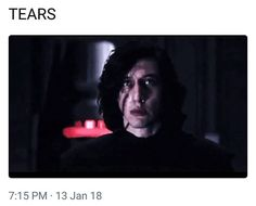 As soon as Snoke used Force Lightning on Kylo I knew for 1000% certain that I hated him, and then when Kylo got up and you could see the tears in his eyes, my heart just broke for this sweet marshmallow.  SNOKE DON'T YOU DO ANYTHING TO MY PRECIOUS KYLO!!!