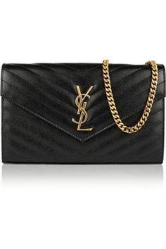 Monogramme quilted textured-leather shoulder bag #bag #women #covetme #saintlaurent