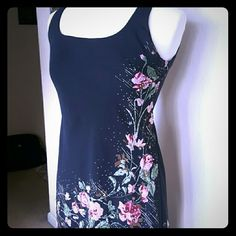 """Vintage dress size 6 Beautiful black and floral beaded dress. Assymetrical with ruffle bottom. Size 6P. 44"""" at longest length. Alex Evenings Dresses Asymmetrical"""