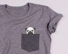 MOPS w kieszonce - SZARA koszulka - LUŹNA - POKETY - Koszulki i bluzy