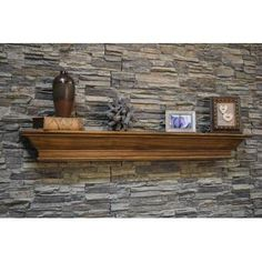 Alcott Hill This shelf mantel features decorative cap crown molding style shelf with the extended bottom area to give extra height and detail. Fireplace Mantel Surrounds, Fireplace Shelves, Mantel Shelf, Farmhouse Fireplace, Open Fireplace, Fireplace Ideas, Fireplace Stone, Wood Mantle, Mantel Ideas