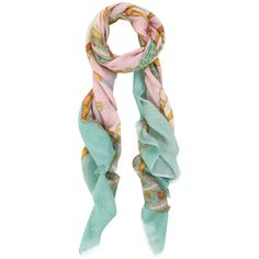 Manipuri Pastel Wool-Blend Chain Belt Print Scarf ($160) ❤ liked on Polyvore