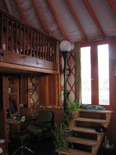 Yurt built on 4-ft walls to make it taller - great idea!