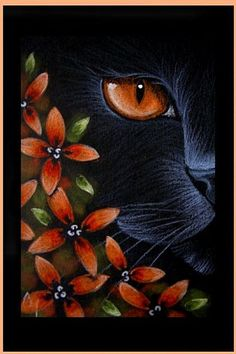 Art: BLACK CAT BEHIND THE FLOWERS 1 by Artist Cyra R. Cancel