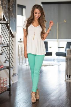 Our skinny mint jeggings will be the next best thing to your most comfortable pair of leggings! The super stretchy and soft material will keep you comfortable all season long, while the beautiful mint