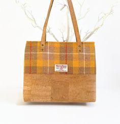 Eco Friendly Bag Made of Cork and Harris Tweed by MyCottonHouse