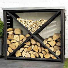 Outdoor Firewood Rack, Firewood Holder, Firewood Shed, Outdoor Storage, Indoor Firewood Storage, Fire Wood Storage Ideas, Rustic Gardens, Outdoor Gardens, Mens Room Decor