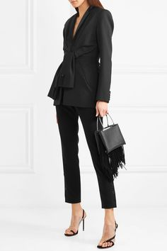 Alexander Wang | Tie-front silk satin-trimmed wool and mohair-blend blazer | NET-A-PORTER.COM
