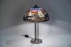 Mar barcos de vela. Lámpara de vidrio. Lámpara por StainedGlassPL