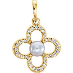 14kt Yellow Freshwater Cultured Pearl & 1/6 CTW Diamond Pendant